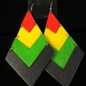 Rastafarian Island Wood Earrings